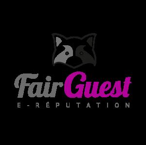Logo Fair Guest gris et violet représentant un raton laveur